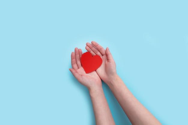 여자 손에 고립 된 발렌타인 데이 대 한 마음을 잡고