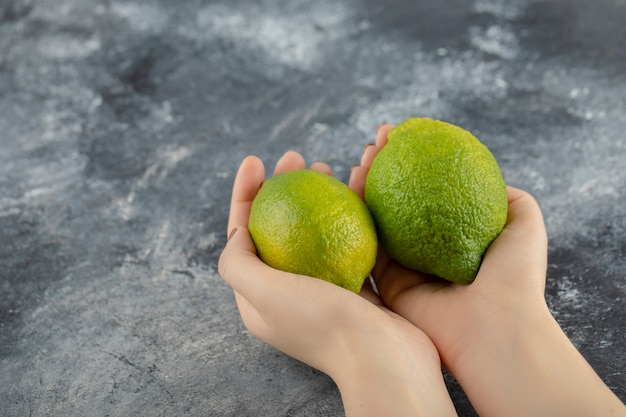 Woman hands holding two green fresh lemons .