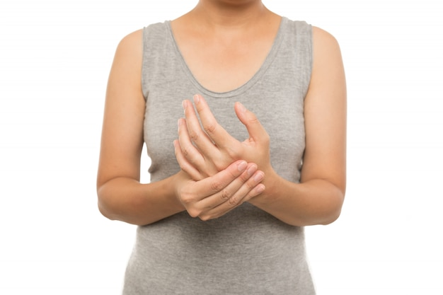 Woman hands pain on white background