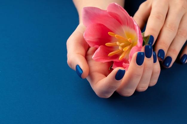 青い背景にカラフルなチューリップを保持しているマニキュアと女性の手