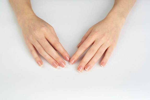 Woman hands with nails polished