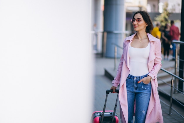 Woman happy travelling