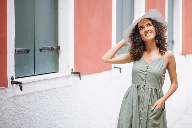 Woman happy on vacation in venice