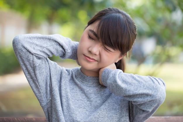 Woman has neck pain