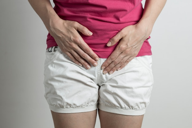 A woman has a pain in the bladder. dysuria. violation of urination.