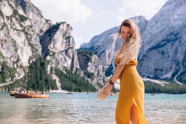 Woman have fun at lago di braies