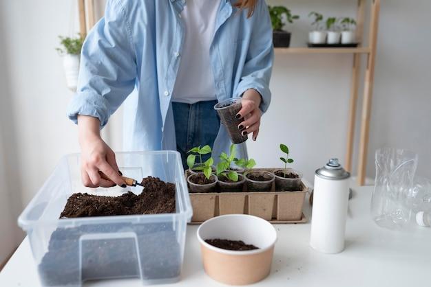 Женщина, имеющая устойчивый сад в помещении