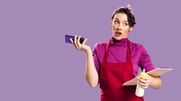 Woman having a child and a job medium shot