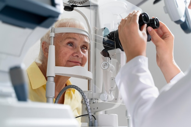 Woman having an eye sight check at an ophthalmology clinic
