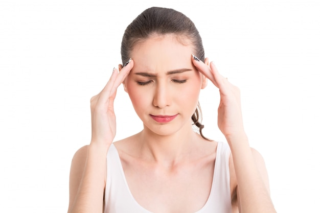 Woman headache and holding head isolated on white background