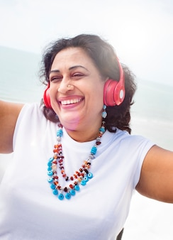 Woman Headphones Listening Music Lifestyle Concept