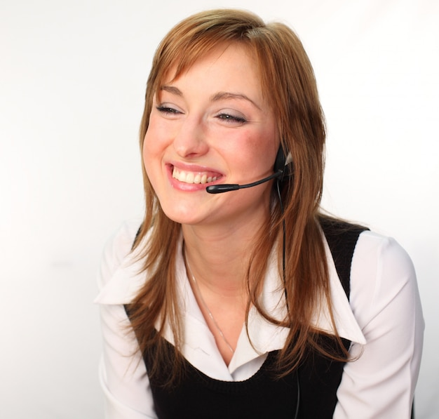 Woman on a headset talking