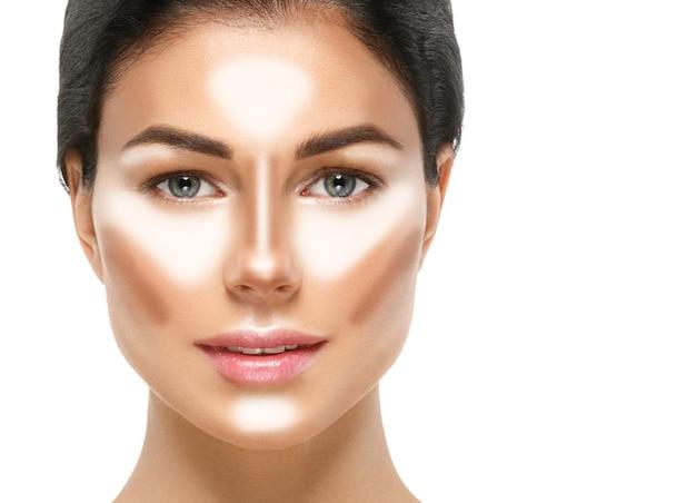 Женщина здоровая кожа наращивание ресниц красота естественный макияж косметический возраст концепция цвет фона
