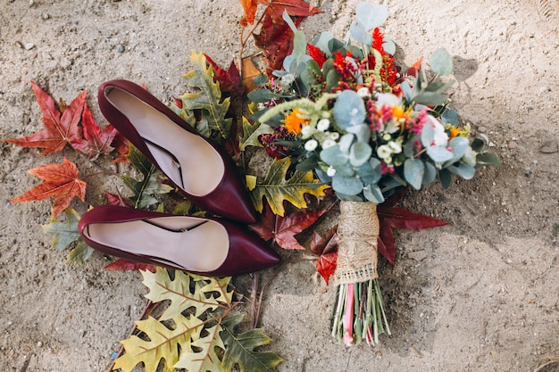 Woman heels and wedding bouquet