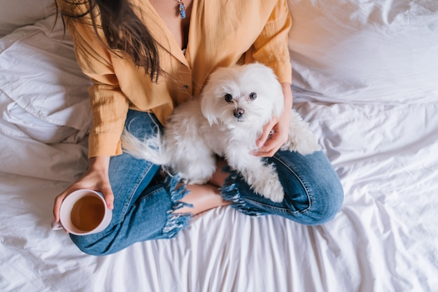 Woman and her cute dog at home drinking tea