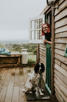 Woman and her lovely dog