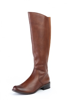 Woman high knee leather boots isolated on white