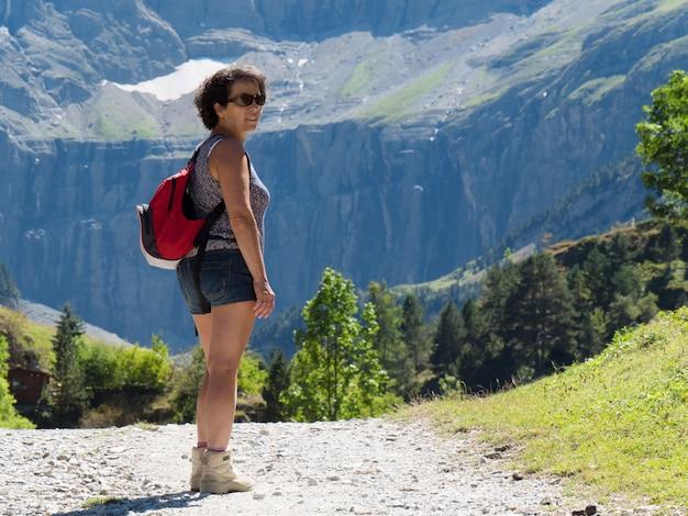 Woman hiker and cirque de gavarnie