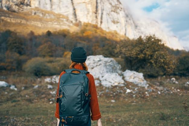 Woman hiker nature travel vacation landscape fun
