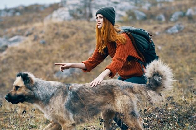 山の犬の隣の女性ハイカー旅行休暇の風景