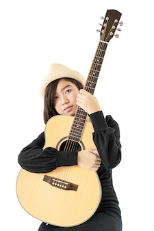 Woman hold guitar guitar folk song in her hand