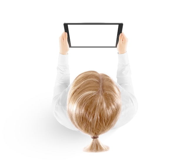 Woman hold tablet pc mockup in hand, top view isolated.