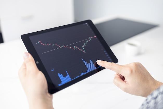 Женщина, держащая цифровой планшет с диаграммой фондового рынка в современной кухне. торговля дома концепция