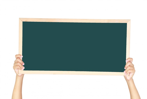 Woman holding a blank blackboard isolated