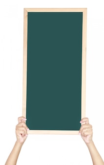 Woman holding a blank blackboard for write something isolated