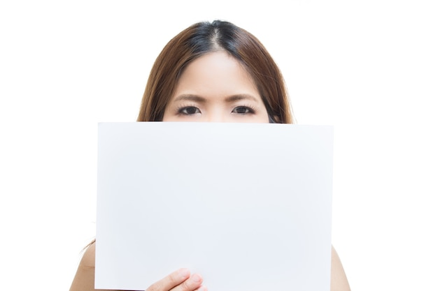 Woman holding blank paper isolated on white