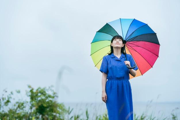 A woman holding a colorful umbrella in the rain