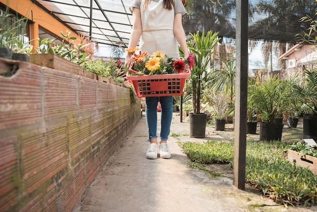 Woman holding container of colorful flowers in greenhouse