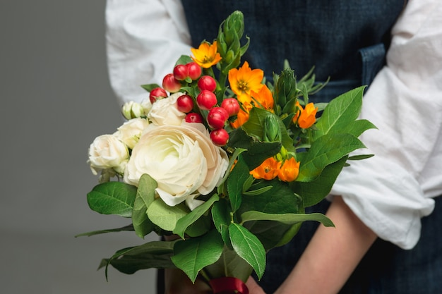Woman holding a gorgeous bouquet
