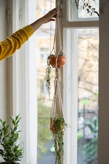 Woman holding handmade cotton macrame plant hanger hanging from the window in living room
