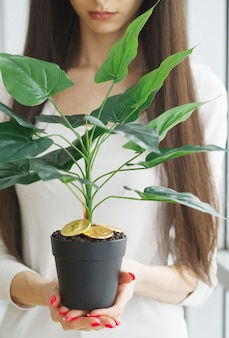 Woman holding, house plant with coins of bitcoin on the ground