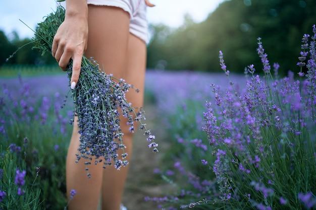 라벤더 꽃다발을 들고 여자