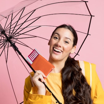 Woman holding an opened umbrella