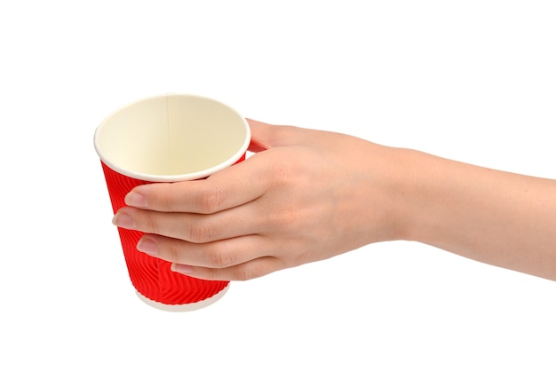 Woman and holding paper cup for vaious drinks isolated on white.