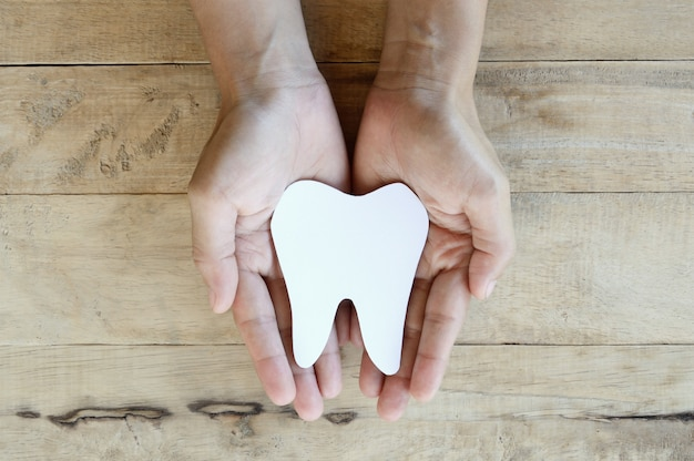 Woman holding paper cuts with tooth shape