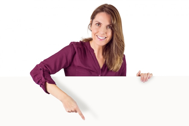 Woman holding placeholder in her hands