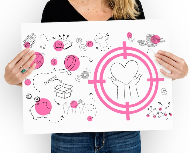 Woman holding a poster with donation and charitative drawings