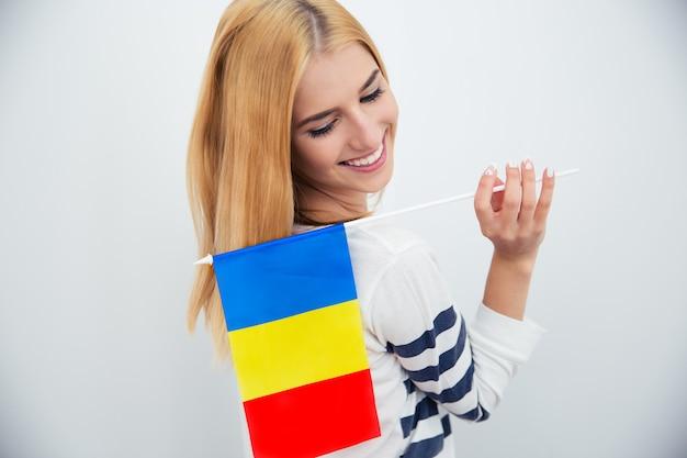 루마니아어 fla를 들고 여자