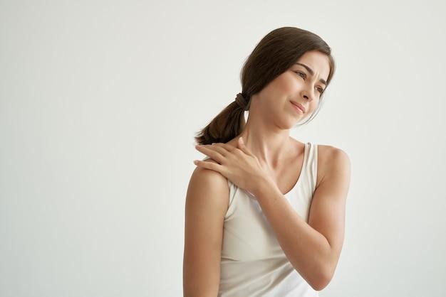 Woman holding shoulder health problems massage pain
