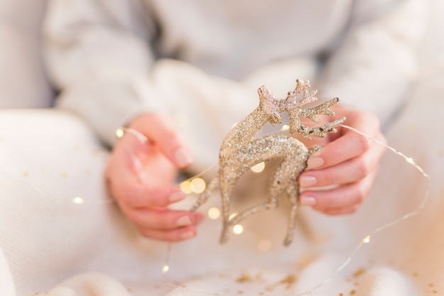 Woman holding small deer in hands