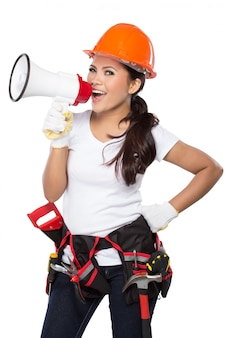 Woman holding tool and megaphone