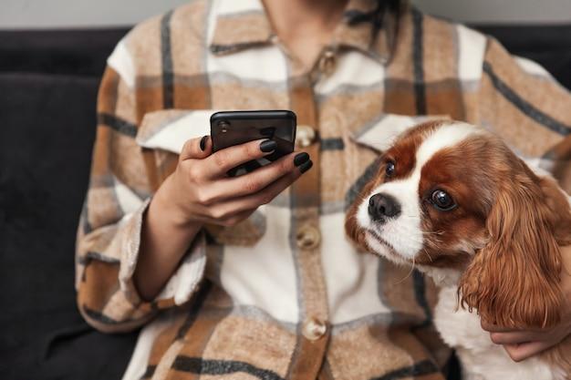 女性が携帯電話を手に持ち、犬が携帯電話を見る