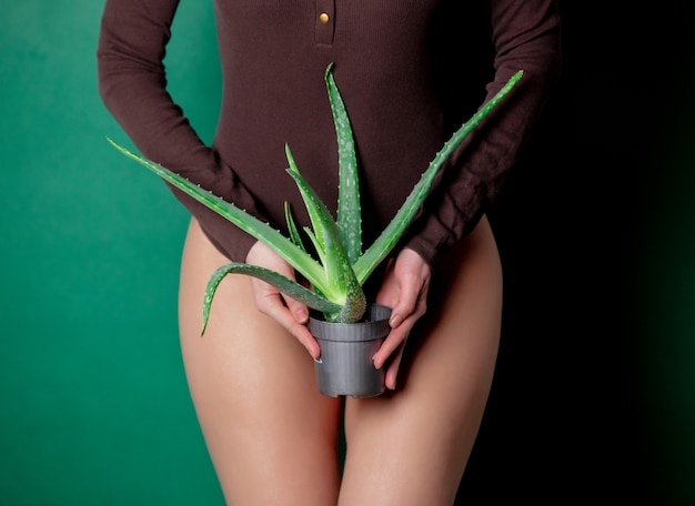 Woman holds aloe in her hands at foot level