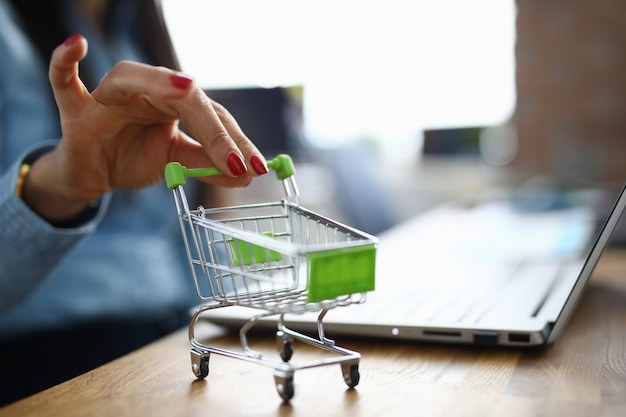 Woman holds in her hand small shopping basket.