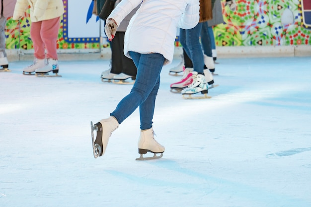 Woman ice skate on the rink