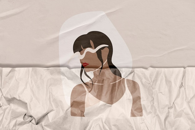 Woman illustration with wrinkled paper texture remixed media